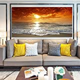 wZUN Arte de la Pared Pintura Paisaje Lienzo Pintura Carteles e Impresiones Vista al mar Amanecer imágenes Sala de Estar decoración del hogar 60x120 Sin Marco