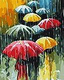 N\A For Mayores Avanzada Niños Joven Pinturas con Numeros para Adultos Paraguas Abstractos Paraguas De Colores DIY Acrilico Pintura Kit Pintar Numeros