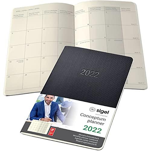 SIGEL C2284 Conceptum agenda-quaderno mensile 2022-13,5 x 21 cm - softcover - 64 pagine - nero