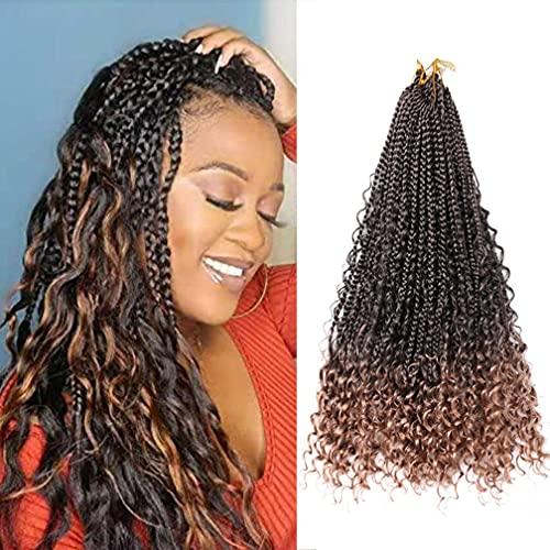 7 pacchi scatola della dea trecce all'uncinetto capelli con estremità ricci per le donne 35/45 cm sintetiche estensioni dei capelli all'uncinetto bohémien pre-loop (4 colori)(Color:T27#,Size:18in/45