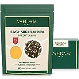 Té Kashmiri Kahwa - Té Chai Saffron Original Indio(50 Tazas), Té Verde Premium mezclado con...