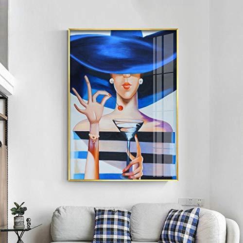 HFWYF 50x70 cm Azul Elegante Mujer Bebiendo Lienzo Arte Pintura Impresiones Mural Cartel Lienzo Arte de la Pared Dormitorio decoración del hogar