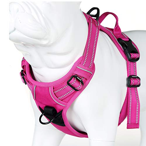 JUXZH Soft Front Dog Harness .Best Reflective No Pull Harness with Handle and 2 Leash Attachments