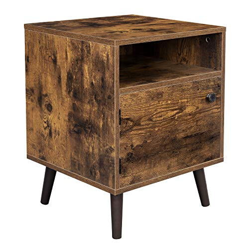 VASAGLE Nightstand, End Table, Sofa Side Table with Open Shelf and Cabinet, Tapered Legs, for Bedroom, Living Room, Retro Style, Rustic Brown ULET170B01