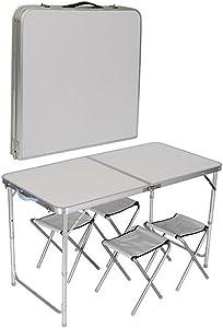 Portátil plegable juego de mesa y 4sillas para cocina comedor al aire libre jardín Picnic y Camping por cristales®