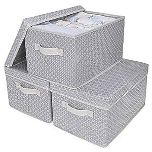 GRANNY SAYS Storage Bin with Lid, Kid's Storage Box, Toy Storage Basket Nursery Storage Containers with Lids, Large, Gray/Beige, 3-Pack