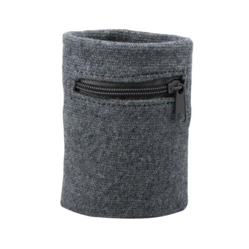 Suddora Zipper Wrist Pouch - Sweatband/Wristband Wallet for Keys, ID, Cards, Cash (Gray)