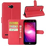 HualuBro LG X Power 2 HandyHülle, Leder Brieftasche Etui Lederhülle Tasche Schutzhülle Hülle [Standfunktion] Handytasche Flip Hülle Cover für LG XPower 2, LG X Power II (Rot)