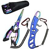 AUBEY Angelzange & Fischgreifer, 2 Stück Angel Werkzeug Set, Tragbare Multifunktionale Angeln Zange & Fischgriff-Werkzeuge, Angelwerkzeug