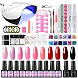36W UV/LED Lámpara Secador de Uñas 12PCS Esmalte Semipermanente Kit Uñas de Gel Primer Uñas Top Coat DIY Uña Arte Kit para Manicura Pedicura (Set 007)