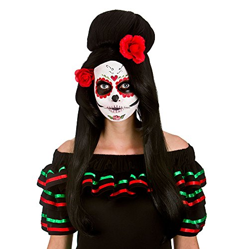 Wicked Day of the Dead Darling Wig Halloween Fancy Dress Accessory