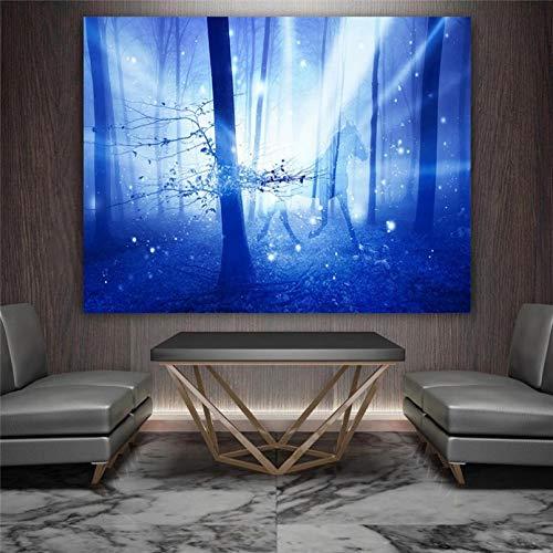 XIAOTAO Cuadros Decorativos Decoración para el hogar Póster Artístico de Pared Impresiones en Lienzo Bosque Azul Caballo Decoración de Mesa Mural Imágenes de decoración del hogar 50x70 cm-con