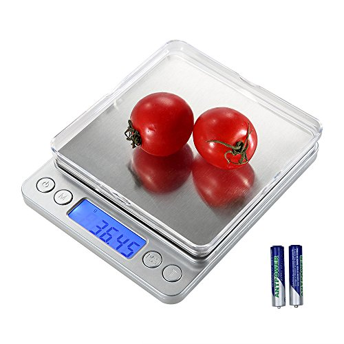 Samsion Digital Kitchen Scale, 500g/ 0.01g Mini Pocket Jewelry Scale, Cooking Food Scale with Back-Lit LCD Display, 2 Trays, 6 Units, Auto Off, Tare, PCS Function, Stainless Steel, Batteries Included