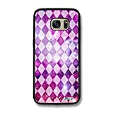 Pin-1 Snap-on Hard Case with Black TPU Bumper for [Samsung Galaxy S7 Edge] - Art Aztec Design Galaxy Overlay Pink Mix 0782