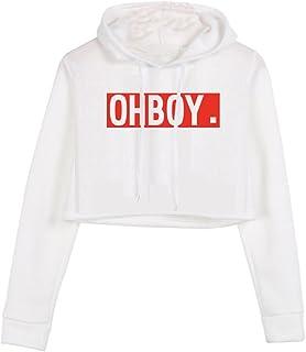 YITAN Women Long Sleeve Printed Letters Hoody Sweatshirt Pullover Girl Casual Crop Tops Hoodies