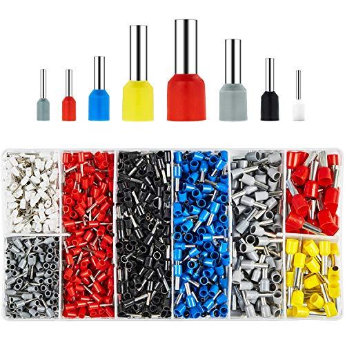 BAURIX ® 1200 Stück Aderendhülsen Sortiment I Isolierte Hülsen nach DIN sortiert I 0,5 mm² - 10 mm² I Profi Isolierhülsen Set (A - 1200 Stück)