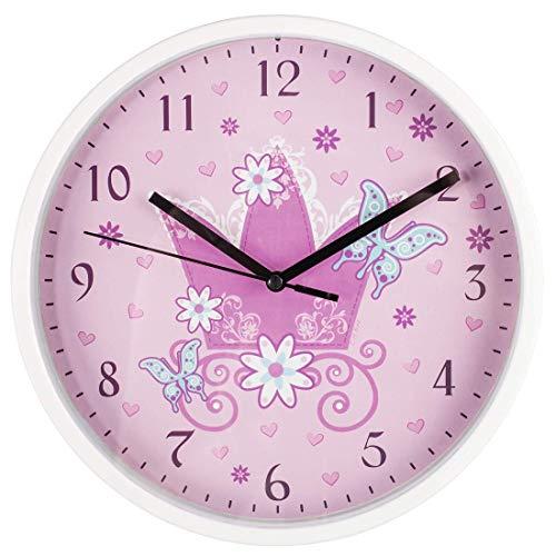 Hama Kinder Wanduhr ohne Tickgeräusche (analoge geräuscharme Kinderuhr, Kinderwanduhr mit großem Ziffernblatt Ø 22,5 cm und Prinzessin-Motiv mit Krone, z.B. für Kinderzimmer) rosa