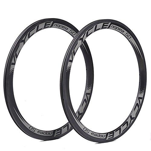 VCYCLE Nopea 700C 50mm Kohlefaser Fahrrad Laufradsatz Drahtreifen 23mm Breite 20/24 Loch Felgen