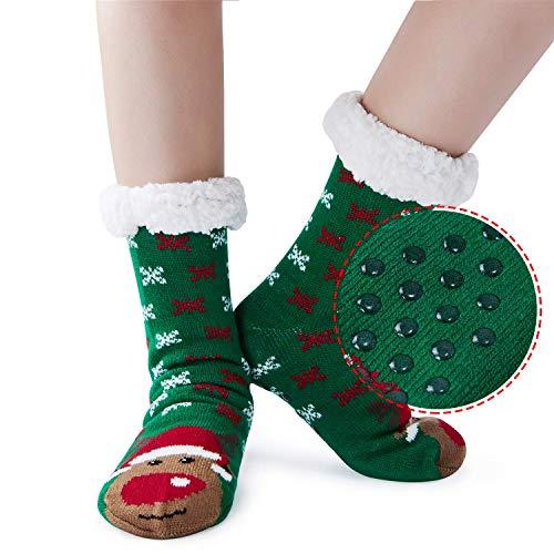 AIDEAONE Ladies Christmas Knit Slipper Sock Furry Fleece Lined Calzini morbidi non scivolanti (Green)