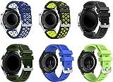 Gransho Correa de Reloj 22mm, Impermeable Reemplazo Correas Reloj Silicona Banda (22mm, 6PCS B)