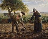 ColorfulStream - Patatas para plantar campesinos de Jean-Francois Millet. 100% pintado a mano. Reproducción al óleo sobre lienzo (sin marco y sin estirar)., Igual que el original., 52x42