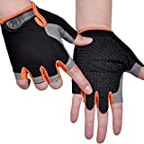 Taosheng Ciclismo mezze dita guanti maschili fitness all'aperto protezione solare antiscivolo traspirante sottile senza dita mezzo-taglio guanti da donna (colore : Arancione, Taglia : M)