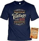 Herren Geburtstag T-Shirt - 50 Jahre - 100% Premium Vintage seit 1970 - lustige Shirts 4 Heroes Geschenk-Set Bedruckt mit Urkunde - 4