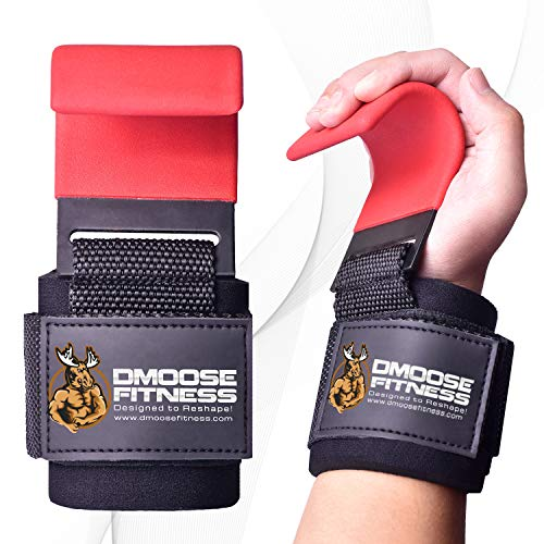 DMoose Fitness Weight Lifting Hooks Grip (Pair) - 8 mm Thick Padded Neoprene, Double Stitching, Non-Slip Resistant Coating – Secure Your Grip and Reach Your Goals with Premium Workout Hook Gloves