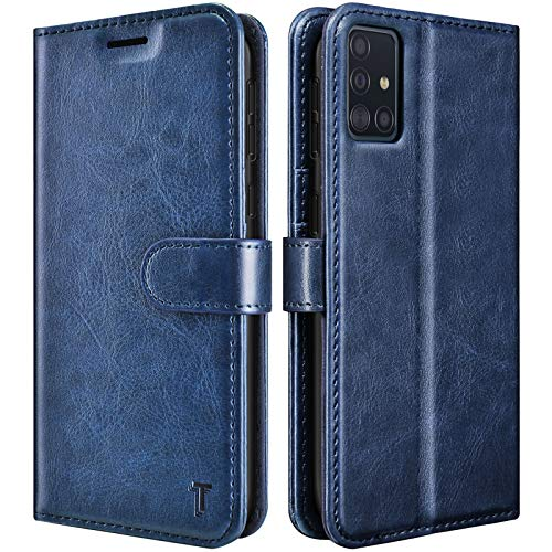 Galaxy A51 5G Case, [5G Version] Galaxy A51 Wallet Case [Not for 4G], Tekcoo [RFID Blocking] Secure Cash ID Credit Card Slots Holder Carrying Vegan Leather Phone Flip Cover For Samsung A51 - Navy Blue