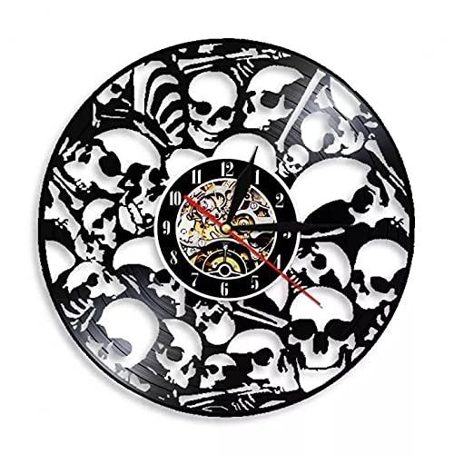 XYVXJ Reloj de Pared de Calavera Hecho de Disco de Vinilo con Cabezas de Esqueletos Muertos Reloj Colgante con decoración vívida única para Fiesta
