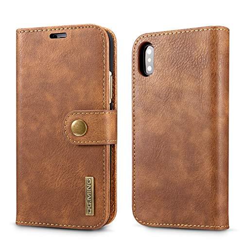 Enviar Después de la prueba Clásico billetera de cuero for el iPhone X de la PU cubierta de cuero 2018 de Apple Teléfono de la empresa Retro bolsas protectoras de tirón de accesorios ( Color : Brown )