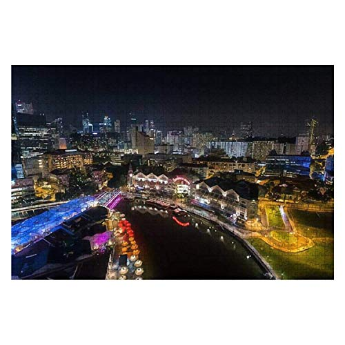 Singapore December 1 2016 Clarke Quay is a Historical Riverside 1000 Piece Wooden Jigsaw Puzzle DIY Children Educational Puzzles Adult Decompression Gift Creative Games Toys Puzzles Home Decor