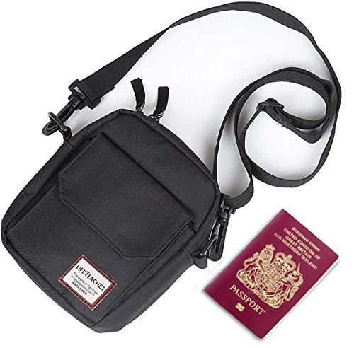 Black Small Shoulder Bag Crossbody Bag For Men Women Mini Messenger Bag Travel Purse Wallet Passport Holder Bag,Nylon Cell Phone Purse Unisex.
