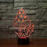 Lámpara de mesa de noche con ilusión 3D, forma de seta, 7 cambios de color, juguetes de cabecera para bebés y niños, regalos, luz de habitación, decoración acrílica para el hogar,-16 colors remote