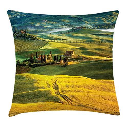 Mesllings Toscaanse Kussensloop, Idyllisch landschap van Toscaanse weg en cipressen naar middeleeuwse boerderij afbeelding, decoratieve vierkante Accent kussensloop, 18 X 18 Inch, mosterd en groen