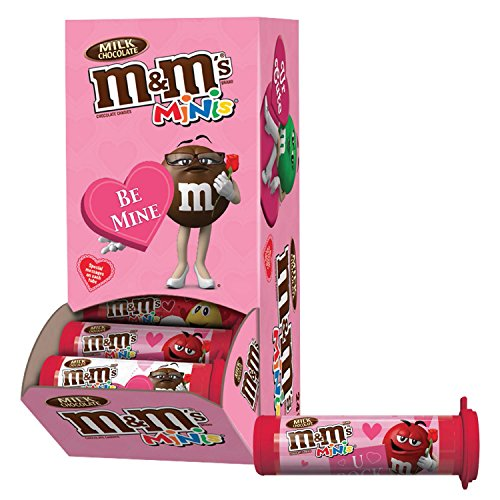 M&M'S Valentine's Milk Chocolate MINIS Size Candy 1.08-Ounce Tube (Pack of 24)