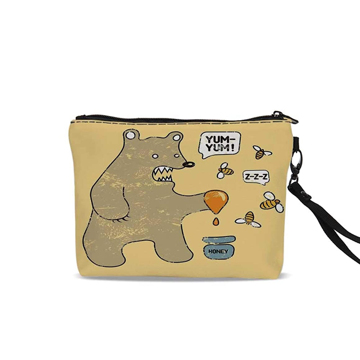 Cartoon Cosmetic Bag Pouch,Cute Caricature Style Bear with Bees and Honey Saying Yum Yum Kids Comic Graphic For Women Girl,9