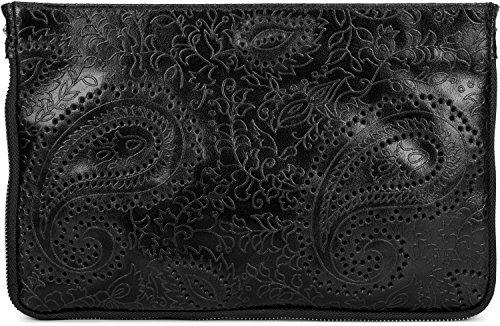 styleBREAKER Bolso de Piel «Clutch» con Relieve de Cachemira y Cremallera, asa, Bolso de Hombro, Bolso de Fiesta, Bolso, señora 02012183, Color:Negro