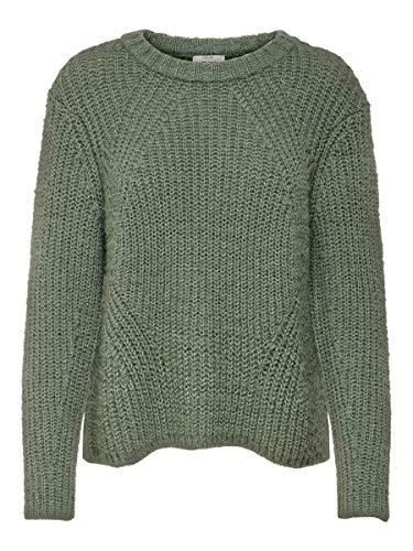 ONLY Damen ONLFIONA L/S KNT NOOS Pullover, Grün (Balsam Green Detail: White Melange), 38 (Herstellergröße: M)