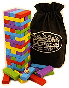 Matty s Mix-Up 60pc Large Colorful Wooden Tumble Tower Deluxe Stacking Game with Storage Bag