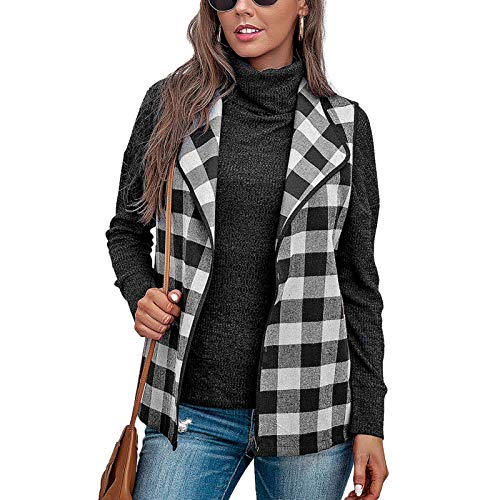 Women Casual Lattice Vest Coat Printed Zipper Sleeveless Turndown Collar Waistcoat Tunic Blouse URIBAKE