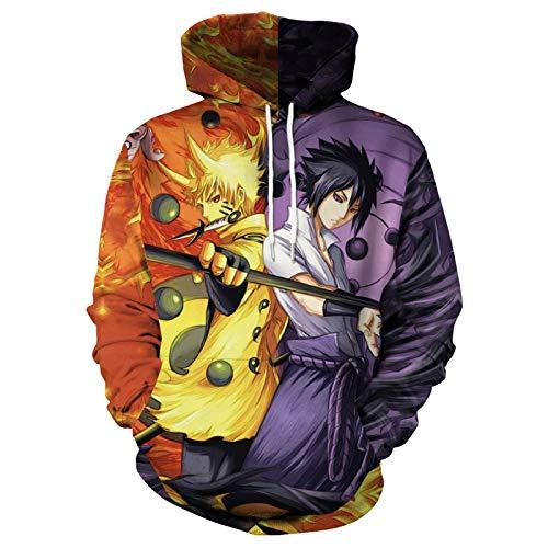 WWZY Naruto 3D Impresas Uchiha Sasuke Sudaderas con Capucha Uzumaki Naruto Cosplay Theme Trendy Pullover Amantes del Anime Y Regalo para Hombre Mujer