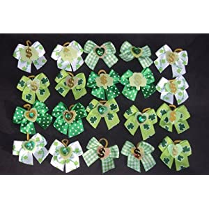 JJ Couture 30 Dog Hair Bows – St Patricks Day Green Collection- Wholesale lot for Groomers – Handmade