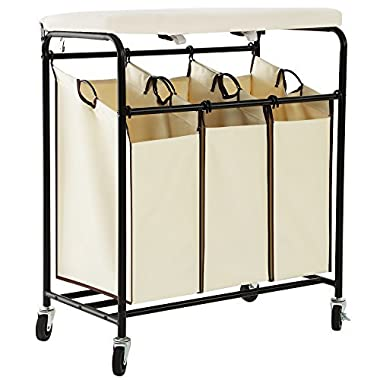 SONGMICS Laundry Sorter with Ironing Board 3-Bag Heavy-Duty Rolling Laundry Hamper with Removable Bags Brake Casters Beige URLS50M