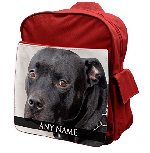 Duke Gifts Personalised Staffordshire Bull Terrier Animal RED Rucksack Backpack 296