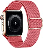 Apple Watch Nylon Solo Loop Bands, Stretchy Smartwatch Bands Compatible with Apple Watch 38mm 40mm 42mm 44mm, Adjustable Stretch Braided Sport Elastics Nylon Band, Women Men Wristband SE 6 5 4 3 2 1