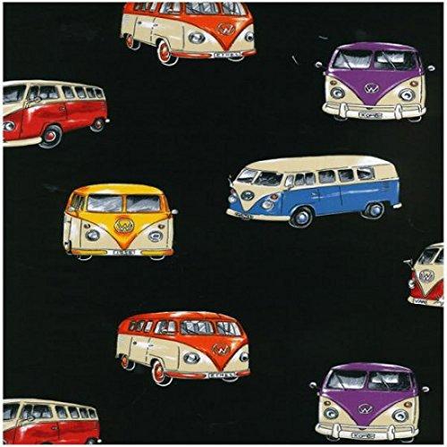 Tissu Combi VW – VW Camper Vans Noir – Nu098–0.5 metre de 50 cm x 110 cm – par Nutex – 100% coton