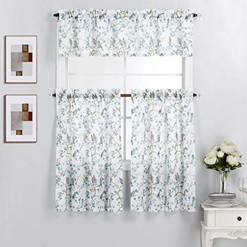 """Interior Trends 3 Piece Kitchen Window Curtain Panel Tiers and Valance Set (36"""" Tiers Set, Bird Blossoms Blue)"""