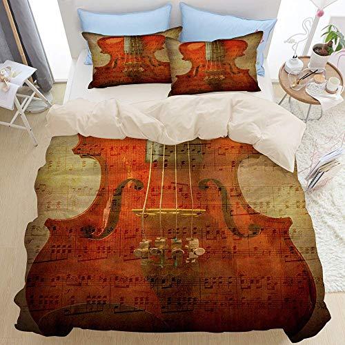 779 - Copripiumino per letto con stringhe musicali, in legno di violino, suono, design artigianale sinfonia, in microfibra, 200 x 200 cm, federa 50 x 80 cm