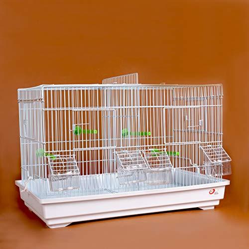 NYKK Jaula para pájaros Avanzada Breeding Bird Cage for Finch Canarias Budgie - Gran pájaro de Metal Jaula de Viaje Jaula de pájaro con una partición (Blanco) Canarios Jaula Mascota (Color : A)